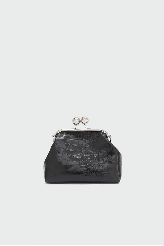 Ribbon Croc Desenli Baget Siyah Kadın Çanta