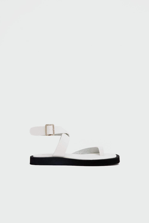 Robin Eva Taban Tek Parmak Çapraz Bantlı Beyaz Kadın Sandalet