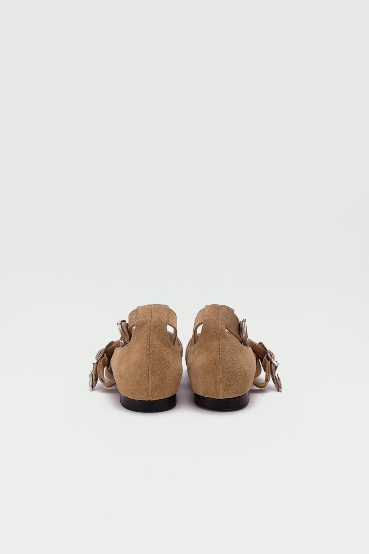 Rosie Gerçek Deri Sivri Uçlu Kemerli Camel Süet Kadın Babet