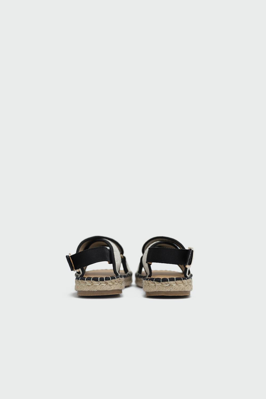 Rowen Hasır Çapraz Bantlı Bej-Siyah Kadın Sandalet