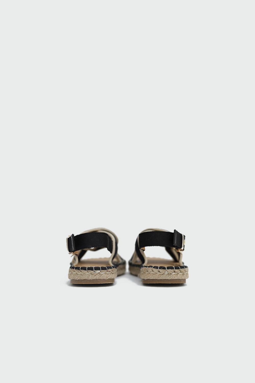 Rowen Hasır Çapraz Bantlı Siyah-Bej Kadın Sandalet