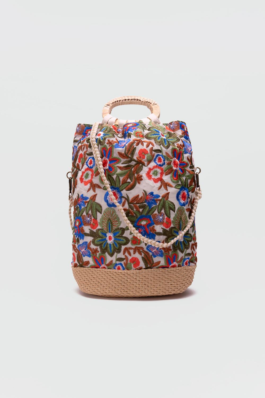 Ruby Çiçek Detaylı Keten Renkli Kadın Çanta