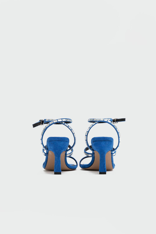 Sepya Süet Baget Taş Detaylı Mavi Süet Kadın Topuklu