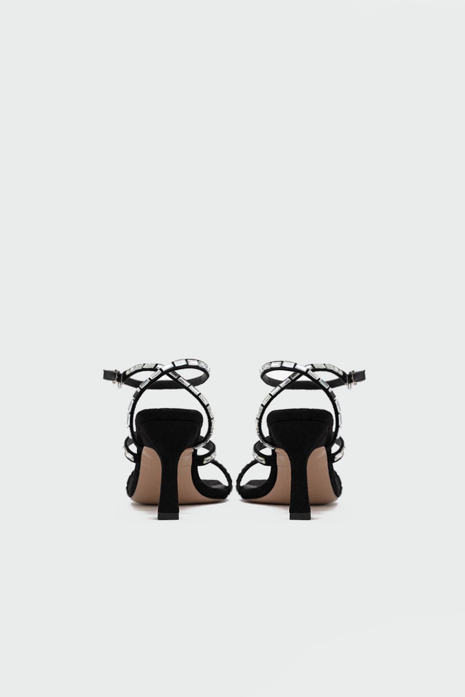 Sepya Süet Baget Taş Detaylı Siyah Süet Kadın Topuklu