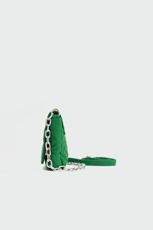 Sirius Geometrik Desenli Kapitone Yeşil Kadın Çanta
