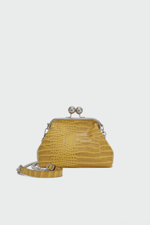 Soley Croc Desenli Baget Sarı Kadın Çanta