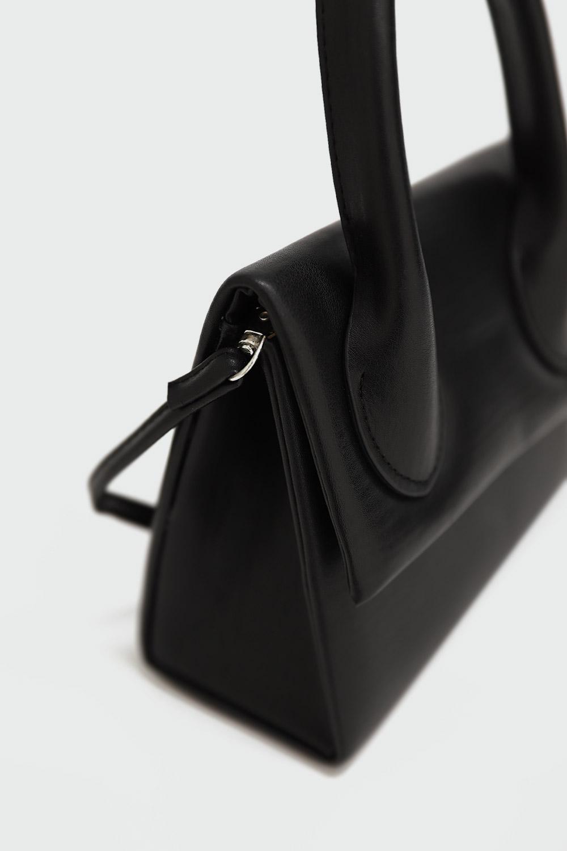 Sona Önden Kapaklı Mini Siyah Kadın Çanta