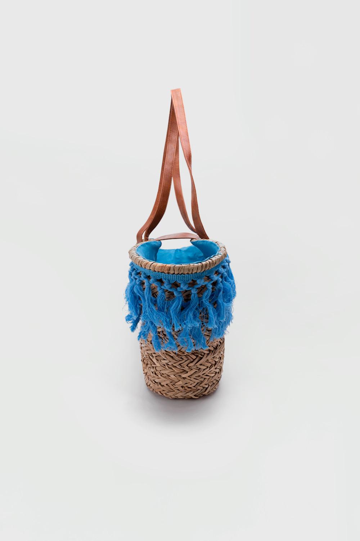 Stella Püsküllü Hasır Mavi Kadın Çanta