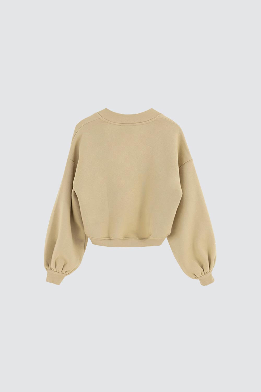 V Yaka Asimetrik Kesim Haki Kadın Sweatshirt