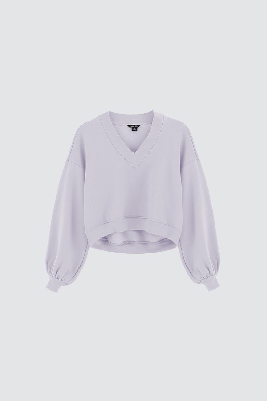 V Yaka Asimetrik Kesim Lila Kadın Sweatshirt
