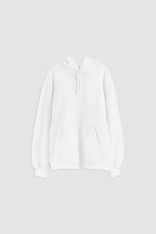 Kapüşonlu Cep Detaylı Beyaz Kadın Sweatshirt