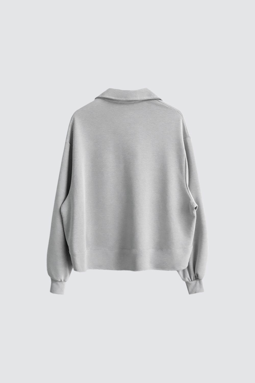 Çıtçıt Detaylı Açık Gri Kadın Sweatshirt