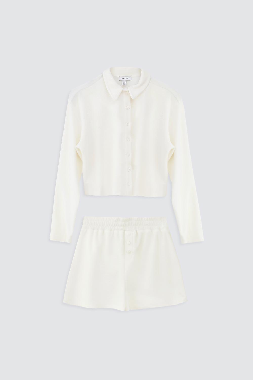 İnce Havlu Kumaş Gömlek Şort Bej Kadın Takım