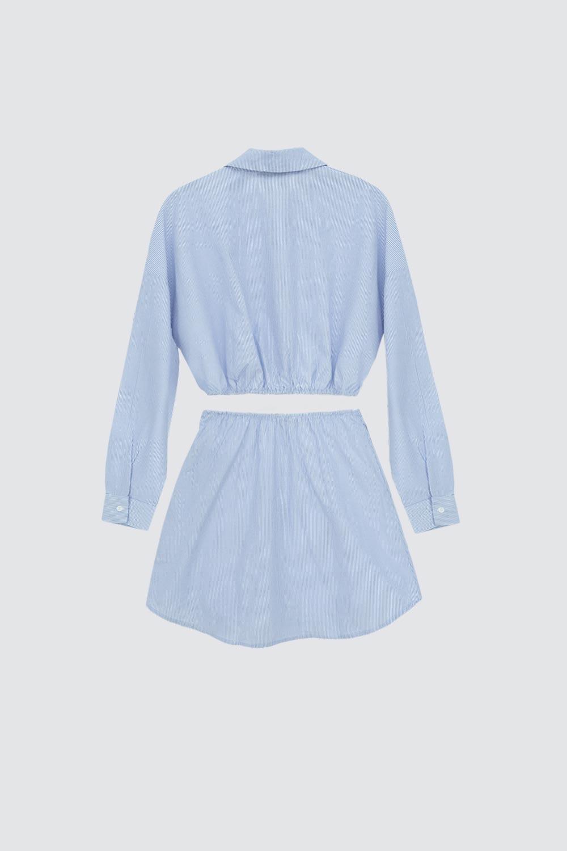 Poplin Kumaş Gömlek Etek Mavi Kadın Takım