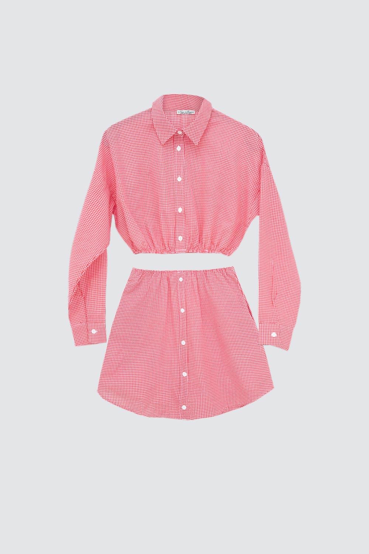 Pötikare Poplin Kumaş Gömlek Etek Kırmızı Kadın Takım