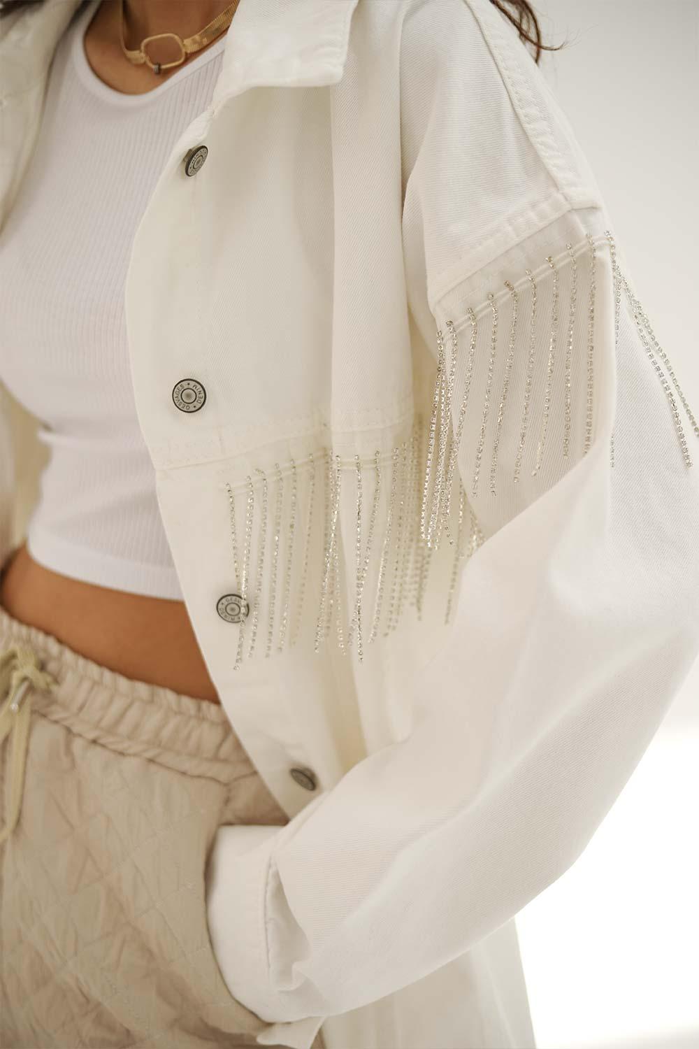 TAŞ DETAYLI DENİM Beyaz Kadın Ceket