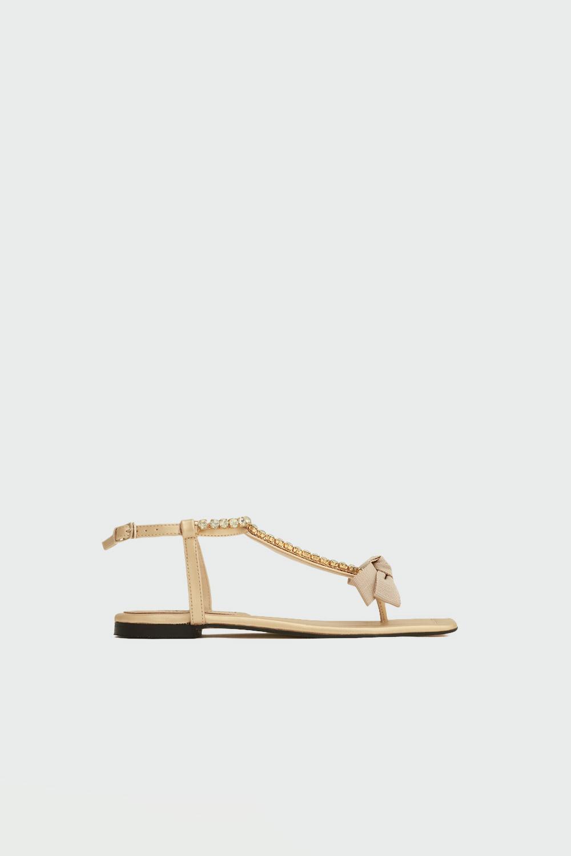 Tatu Taşlı Parmak Arası Kurdele Detaylı Altın Kadın Sandalet