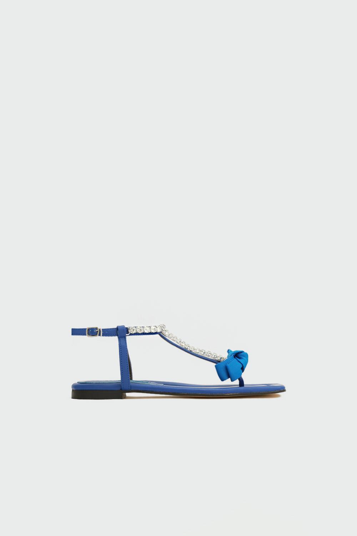 Tatu Taşlı Parmak Arası Kurdele Detaylı Mavi Kadın Sandalet
