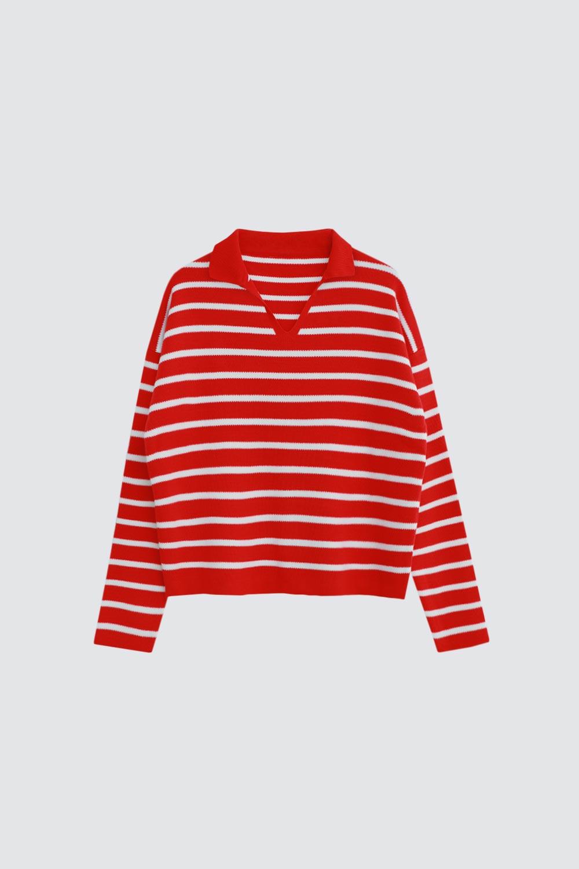 Polo Yaka Çizgili Kırmızı Kadın Triko