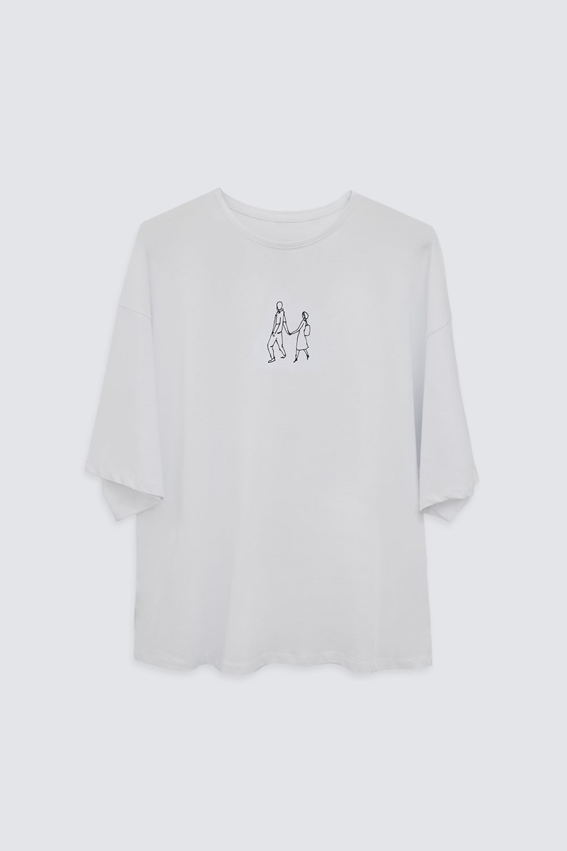 LOVER BASKILI OVERSIZE Beyaz Kadın Basic Tişört