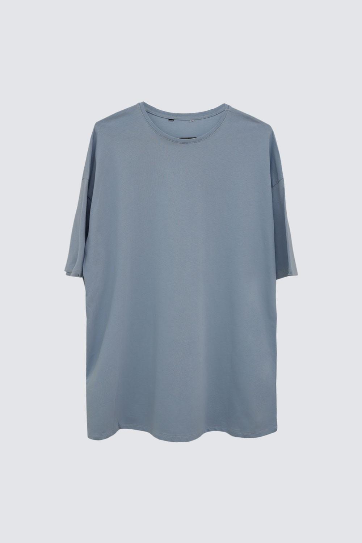 OVERSIZE Açık Mavi Kadın Basic Tişört