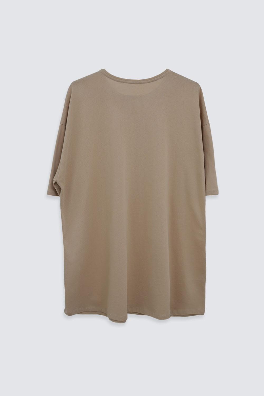 OVERSIZE Cream Kadın Basic Tişört