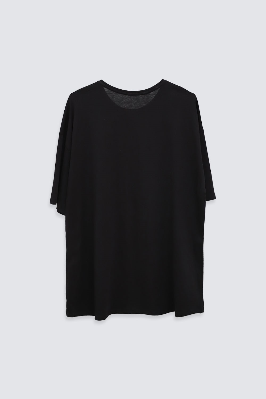 OVERSIZE Siyah Kadın Basic Tişört