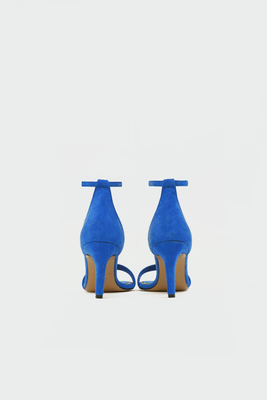 Tuffi Süet Tek Bantlı Bilekten Bağlamalı Mavi Süet Kadın Topuklu