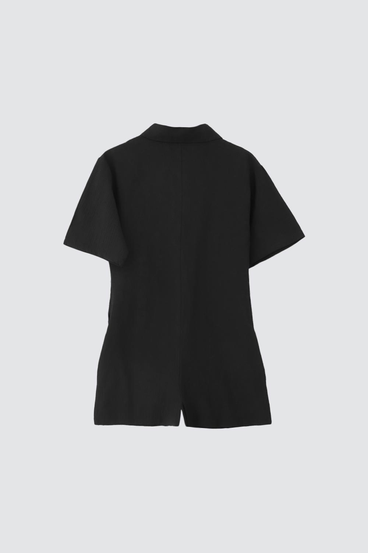 Gömlek Yaka Siyah Kadın Tulum