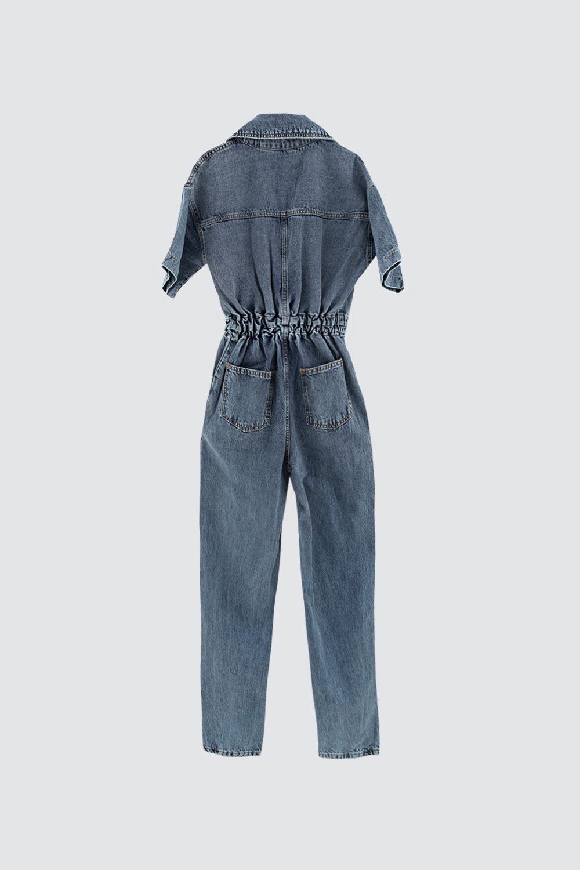 Yarım Kollu Gömlek Yaka Denim Mavi Kadın Tulum
