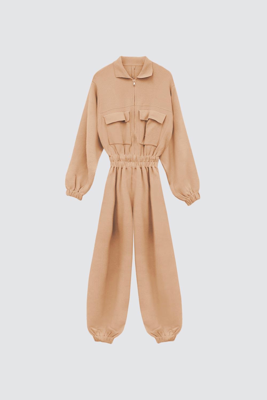 Çelik Triko Gömlek Yaka Cep Detaylı Camel Kadın Tulum