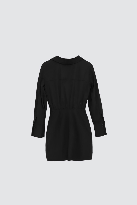 V Yaka Gömlek Belden Oturmalı Siyah Kadın Elbise