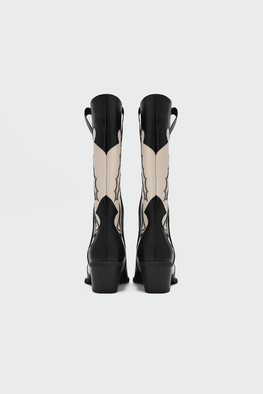 Wesliy İşlemeli Kovboy Siyah-Bej Kadın Çizme