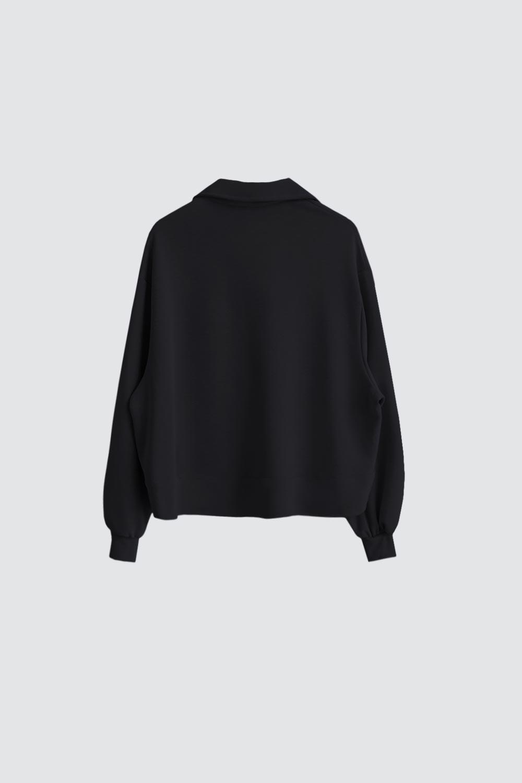 Yakası Çıtçıtlı Siyah Kadın Sweatshirt