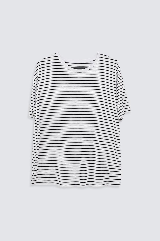YATAY ÇİZGİLİ OVERSIZE Beyaz Kadın Basic Tişört