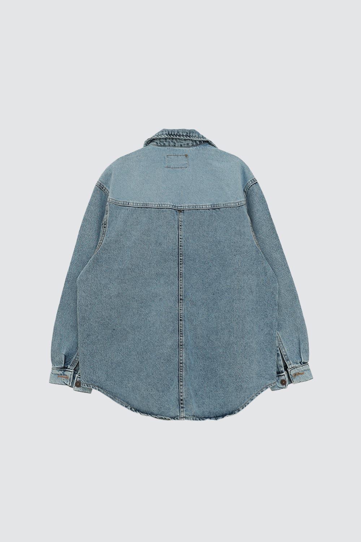 Yıkamalı Oversize Tek Cepli Buz Mavi Kadın Ceket