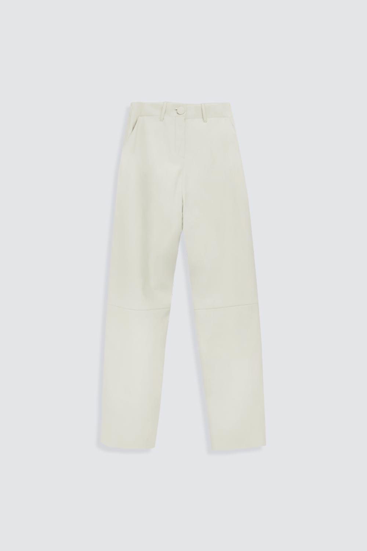 Yüksek Bel Düz Paça Deri Bej Kadın Denim / Pantolon