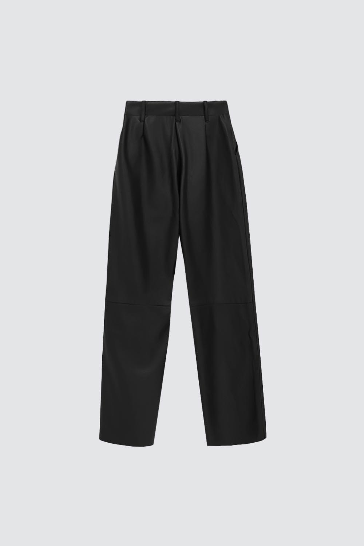 Yüksek Bel Düz Paça Deri Siyah Kadın Denim / Pantolon
