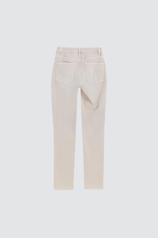 Yüksek Bel Skinny Kesik Paça Bej Kadın Denim / Pantolon