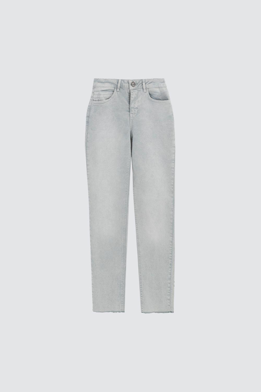 Yüksek Bel Skinny Kesik Paça Buz Mavi Kadın Denim / Pantolon